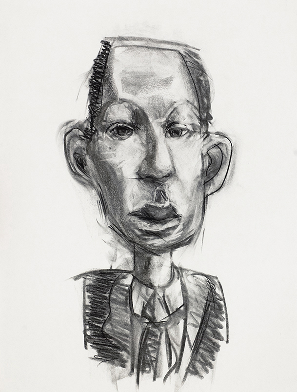 Coat & tie, charcoal on paper, © 2019 Graham White